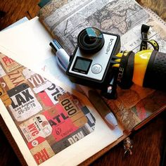 The three tools I think every traveler should have - a #Gopro, a #Midori #travelersnotebook, and a #pen to #document every moment of the experience!  #goprohero4 #hero4 #gopole #papermate #inkjoy #mtn #midoritravelersnotebook #getoutandgosomewhere #travel