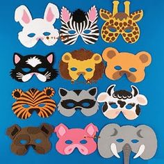 Set of 12 foam animal masks. Each masks measures from - 10 and has an elastic band. These make great favors at any safari, zoo or animal theme party. More can be purchased through the link below. Party Animals, Jungle Animals, Animal Party, Safari Party Favors, Safari Theme, Jungle Theme, Jungle Party, Animal Face Mask, Animal Masks