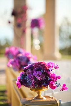Radiant Orchid Wedding at The Resort at Pelican Hill Wedding Centerpieces, Wedding Bouquets, Wedding Flowers, Hotel Wedding, Wedding Ceremony, Purple Wedding, Wedding Colors, J'ai Dit Oui, Marriage Celebrant
