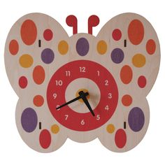 wall clock original design by Paul Ocepek SILENT quartz movement NO assembly required approx x x thick laser cut baltic birch plywood pre-drilled hole for easy hanging made in massachusetts, usa requires 1 AA battery (not included) Tabletop Clocks, Wood Clocks, Butterfly Wall, Butterfly Design, Baby Decor, Kids Decor, Nursery Decor, Learning Clock, Clock For Kids