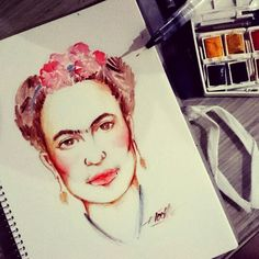 Frida Kahlo  Watercolor on paper
