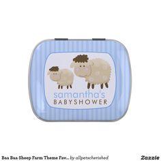 Baa Baa Sheep Farm Theme Favor Tin - Blue Jelly Belly Candy Tins