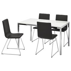 IKEA - TORSBY / VOLFGANG, Table and 4 chairs, high gloss white, Bomstad black, The high-gloss surface reflects light and gives a vibrant look. Seats We recommend using place mats to protect the surface of your table. Dining Furniture, Dining Chairs, Dining Table, Kitchen Tables, Black Furniture, Ikea Dining Sets, Malm Dressing Table, Under The Table, 6 Drawer Dresser