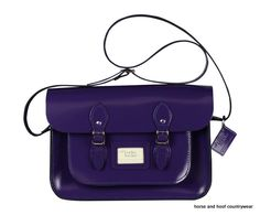 Traditional Hand Crafted British Vintage Leather Satchel - Patent Deep Purple Our 14-inch satchel perfectly fits all styles of 13-inch MacBook