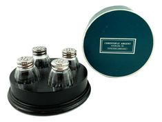 Christofle /Cardeilhac  France Sterling  Crystal Salt Pepper Shakers 4 + Box #Christofle Salt Pepper Shakers, Salt And Pepper, Argent Sterling, Stuffed Peppers, France, Crystals, Antiques, Box, Vintage