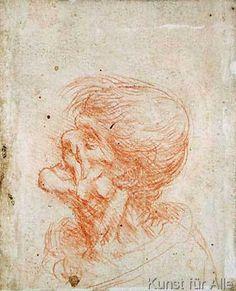 Leonardo da Vinci - Caricature Head Study of an Old Man, c.1500-05