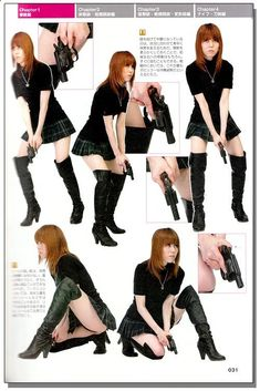 Drawing! Gun Knife Combat Poses Style Graphics Reference Book - Anime Books