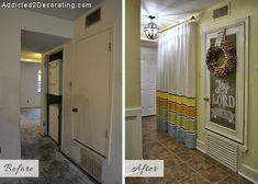 Small condo hallway turned laundry room - before and after makeover.  I LOVE this website!  So many great ideas!
