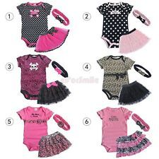 3pcs Girl Baby Newborn Romper Bodysuit+Tutu Skirt+Headband Sets Outfits Clothes