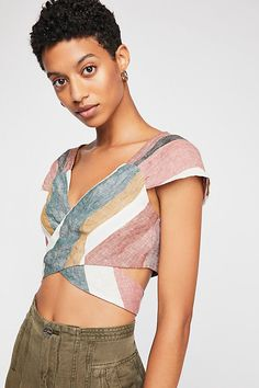 b9c88d1df3 Slide View 2: Nino Wrap Crop Top Top Free, Fashion Details, Cap Sleeves