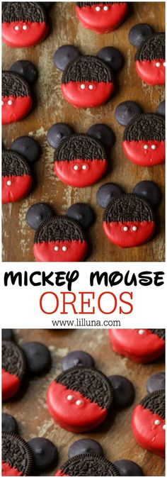 Mickey Mouse OREOS - a simple, cute and tasty treat to make with or for the kids for any occasion! Mickey Mouse OREOS - a simple, cute and tasty treat to make with or for the kids for any occasion! Mickey Mouse Oreos, Mickey Cupcakes, Bolo Mickey, Mickey Mouse Desserts, Mickey Mouse Crafts, Disney Mickey, Minnie Mouse Cupcake Cake, Mickey Mouse Pinata, Mickey Cake Pops