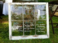 Vintage Barn Window drink menu