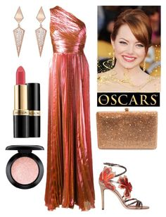 """""""Emma Stone!!!"""" by rossvanderh ❤ liked on Polyvore featuring Maria Lucia Hohan, Jimmy Choo, Dolli, Sara Weinstock, Revlon and MAC Cosmetics"""