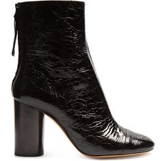 89dc7a1ed81 Isabel Marant Grover crinkle patent-leather ankle boots Black Block Heel  Boots