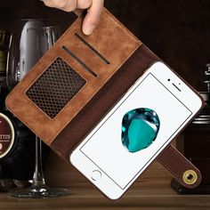 Leather iphone 7 Plus case with card holder