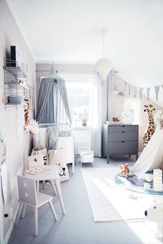 scandinavian style kids room design // white and gray nursery decor Baby Bedroom, Baby Boy Rooms, Nursery Room, Girls Bedroom, Bedroom Decor, Kid Bedrooms, Bedroom Ideas, Deer Nursery, Comfy Bedroom