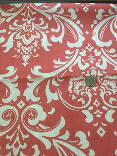 premier prints damask in coral duck cotton