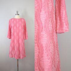 vintage 60s ribbon knit dress / pink dress / a line / Candy Ribbons dress on Etsy, $225.00