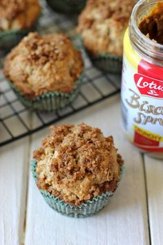 Biscoff Apple Muffins - The perfect excuse to have cookie butter in muffin form for a glorious breakfast!