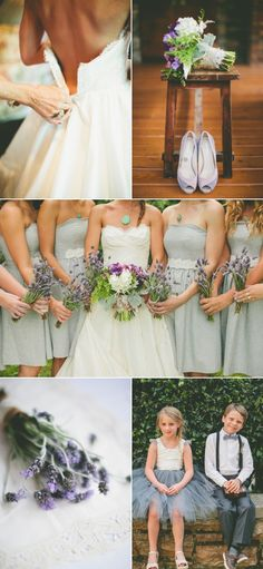 Really pretty lace details at the bridesmaids' waistline... very pretty way to help create some unity in the dresses, even between different neckline styles... Board #104908