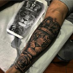 38 Ideas For Tattoo Designs Angel Love Dope Tattoos, Lion Forearm Tattoos, Forarm Tattoos, Bild Tattoos, Feather Tattoos, Leg Tattoos, Tattoos For Guys, Tattos, Lion Tattoo Sleeves