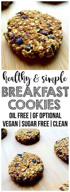 Healthy Breakfast Cookies - Healthy food world Super Healthy Recipes, Delicious Vegan Recipes, Healthy Foods To Eat, Clean Eating Recipes, Vegan Desserts, Whole Food Recipes, Yummy Food, Vegan Food, Healthy Snacks