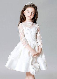 White Satin Short Flower Girl Dress with Long Lace Jacket Flower Girls, Pink Flower Girl Dresses, Tulle Flower Girl, Little Girl Dresses, Girls Dresses, Princess Flower, Tulle Bows, Princess Party, Elegant White Dress