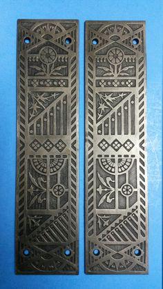 Antique Door Knob Rosette Ornate Cast Bronze Original Patina Circa 1885