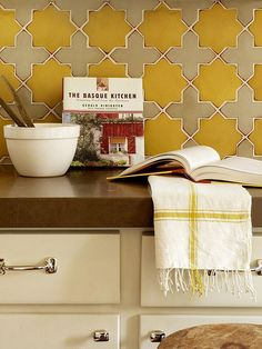 kitchen tiles. Love mustard yellow and gray