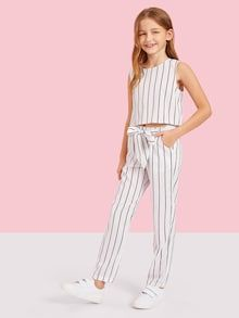 To find out about the Girls Vertical-stripe Shell Top & Pants Set at SHEIN, part of our latest Girls Two-piece Outfits ready to shop online today! Girls Fashion Clothes, Teen Fashion Outfits, Kids Fashion, Cute Girl Outfits, Kids Outfits, Summer Outfits, Striped Cami Tops, Two Piece Outfit, Casual Tops