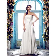 vaina / columna de tren vestido strapless barrido / cepillo de gasa de bodas (604644) - USD $ 179.99