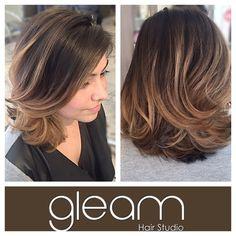 Beautiful honey ombré  balayage on dark hair & trendy short cut. Stunning! By Peter @gleamhairstudio