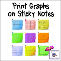 Interactive Notebook must have!! Innovative, Fun, and a Time Saver for all Math classes 6 - 12+. Easily print graphs on Post It Brand or any brand sticky notes. My students love these! Updated with two new templates. By popular request I have added two new templates with first quadrant graphs.