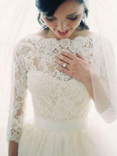 Long Sleeved Wedding Dresses: Vintage Lace Wedding Dress | Bride's Dress Designer: Vera Wang | Real Bride: Jenny| Photography:  Clary Pfeiffer