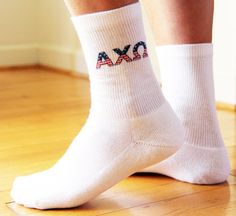 Sorority Stars and Stripes - Americana USA Greek Letters on Socks - Sold by the pair - Alpha Chi Omega Shown Sockprints is a licensed vendor for all 26 NPC sororities. Our made-to-order socks are digitally printed with environment friendly apparel inks and will not fade with washing (no bleach please!). The design is printed on the outside of each sock. Please select the sorority you would like to have printed on the socks and include it in the notes section at checkout. Delta Phi Epsilon, Alpha Omicron Pi, Kappa Alpha Theta, Alpha Chi Omega, Phi Mu, Big Little Gifts, Custom Socks, Sorority Gifts, Crew Socks