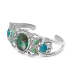 """Sterling Silver Chrysoverde Multi-Gemstone Cuff Bracelet American Gems. $94.98. Natural Gemstones: Chrysoverde, Turquoise, Variscite. Mined and Manufactured in the United States. Genuine .925 Sterling Silver. Lifetime Warranty on Jewelry, Proudly American Made. Measures 5-1/2"""" Inside Circumference"""