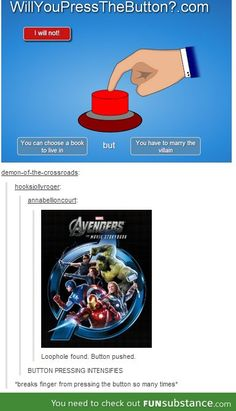 "Loki fans find the best ""Will you press the button"" choice ever."
