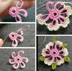 Crochet Flower Lace Making Crochet Motifs, Crochet Flower Patterns, Freeform Crochet, Irish Crochet, Crochet Designs, Crochet Flowers, Crochet Stitches, Crochet Crafts, Fabric Crafts