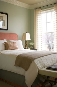 Like that the wall and headboard are complementary colors