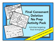 Final Consonant Deletion Activity Kit Articulation Activities, Speech Therapy Activities, Kindergarten Worksheets, Family Game Night, Family Games, Final Consonant Deletion, Phonological Processes, Play Therapy Techniques, Speech Room