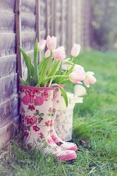 spring bouquet in a jar in a gift of rubber boots (great April/May birthday gift)