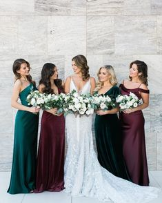 Bride and bridesmaids in jewel tone and velvet dresses wedding bridesmaids 18 of the Most Epic Bride Tribe Shots from 2018 Jewel Tone Bridesmaid, Emerald Green Bridesmaid Dresses, Winter Bridesmaid Dresses, Winter Bridesmaids, Velvet Bridesmaid Dresses, Green Wedding Dresses, Mismatched Bridesmaid Dresses, Brides And Bridesmaids, Wedding Colors