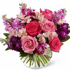 Purchase the beautiful Tranquil Bouquet floral arrangement at Veldkamp's Flowers of Denver Colorado. We offer nationwide same day flower delivery. Beautiful Flower Arrangements, Most Beautiful Flowers, Floral Arrangements, Deco Floral, Arte Floral, Pink And Purple Flowers, Pink Roses, Pale Pink, Anniversary Flowers