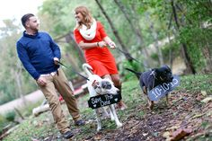 Adorable Save the Date photos with dogs. View more from this Nashville wedding engagement session by @frozenexposure with a sweet fall theme!   The Pink Bride www.thepinkbride.com
