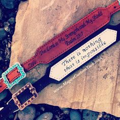 Magic's Custom Tack Wither straps with bible verses and inspirational sayings on them! Great for any barrel racer or horse rider! Www.magicscustomtack.com