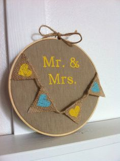 Items similar to Mr. Decoration on Linen with Burlap Heart Banner in Embroidery Hoop on Etsy Heart Banner, Wedding Embroidery, Burlap Crafts, Country Crafts, Here Comes The Bride, Shabby Chic, How To Make, Decoration, Stuff To Buy