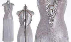 Silver Ballroom Dress as worn by Caroline Flack on Strictly Come Dancing 2014. Designed by Vicky Gill and produced by DSI London