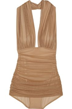 Norma Kamali Halter Robin Ruched Mesh Swimsuit http://www.net-a-porter.com/product/111105