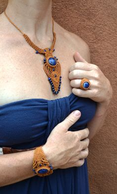 Isis Goddess Necklace/ Macrame Necklace/ Blue by SpiritYSol