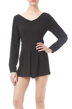 Long sleeve romper with a v-front/ back and a hidden zipper closure.   Black Long Sleeve Romper by Mono B. Clothing - Jumpsuits & Rompers - Rompers Prospect Heights, Brooklyn, New York City